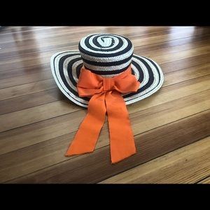 Striped Boater Hat with Bright Orange Ribbon